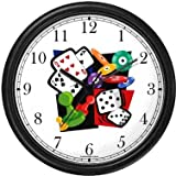Cards, Dice, Chips Gambling or Casino Theme Wall Clock by WatchBuddy Timepieces (White Frame)