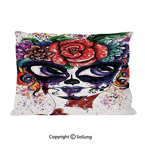 Sugar Plum Cottage - Sugar Skull Decor Bed Pillow Case/Shams Set of 2,Watercolor Painting Style Girl with Make Up and Floral Crown Big Eyes Decorative King Size Without Insert (2 Pack Pillowcase 36