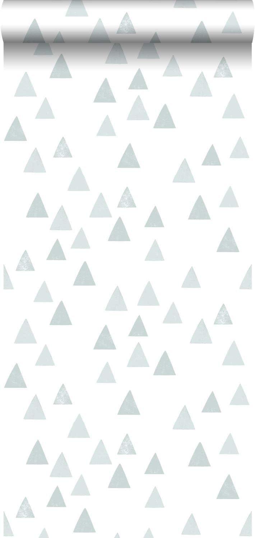 papel pintado tri/ángulos gr/áficos azul agrisado 139056 de ESTAhome.nl
