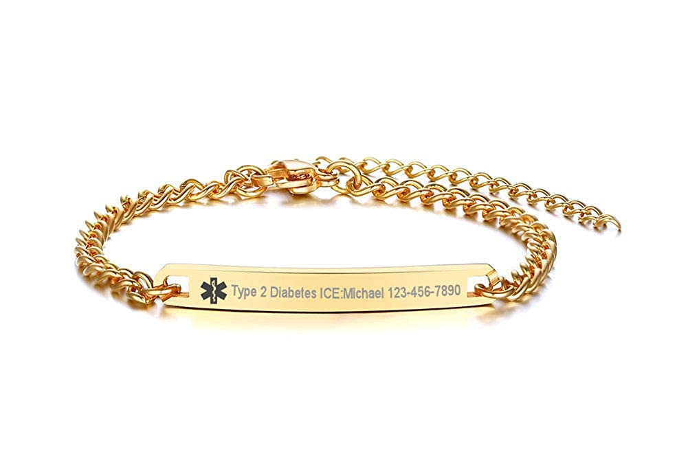 VNOX Free Engraving 4MM Stainless Steel Medical Alert ID Thin O-Link Chain Bracelet for Kids Girls Boys,4.7-6.7