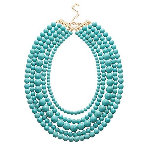 (Heazon Turquoise Necklace Multi-Layered Blue Beaded Beads Strand Necklaces Gold Long Chain Bib Collar Jewelry for Mom Women-RK0090)