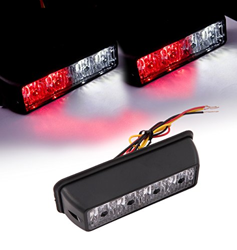 VSEK White/Red 4LED 4W Vehicle LED Emergency Strobe Deck Grille Police Strobe Warning Light for 12-24v SUV Tow Fire Truck RV Van