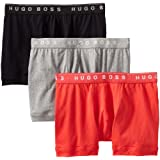 BOSS HUGO BOSS Mens Cotton 3 Pack Boxer Brief, Black/Grey/Red, Large