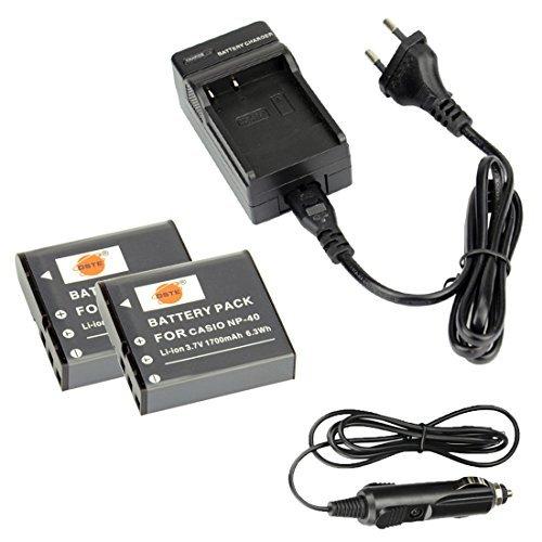 DSTE 2-Pieza Repuesto Baterí a y DC73E Viaje Cargador kit para Ccomoio NP-40 Exilim EX-FC100 EX-FC100WE EX-FC150 EX-FC150BK EX-FC150RD EX-FC160S EX-Z400 Exilim Pro EX-P505 EX-P600 EX-P700 DST Electron Technological Co. Ltd GJLF191B2G