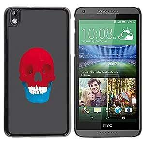 LECELL--Funda protectora / Cubierta / Piel For HTC DESIRE 816 -- Red & Blue Skull - Pop Art --