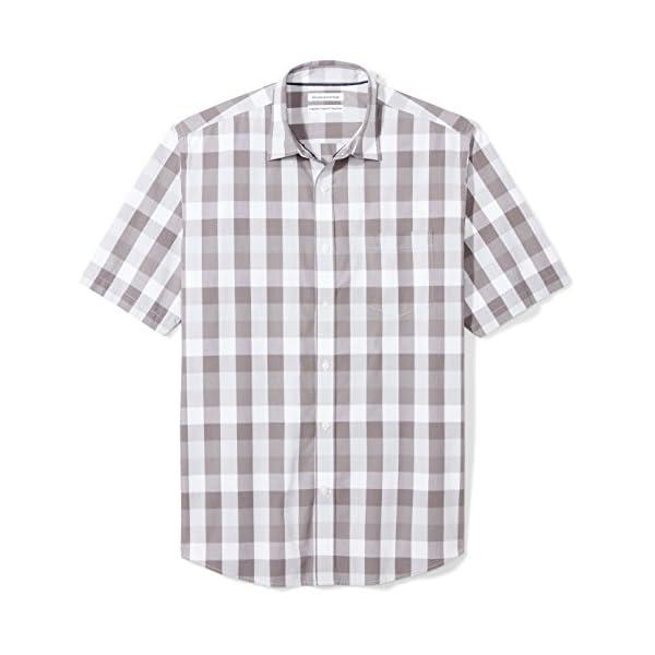 Essentials Mens Short-Sleeve Regular-Fit Casual Poplin Shirt