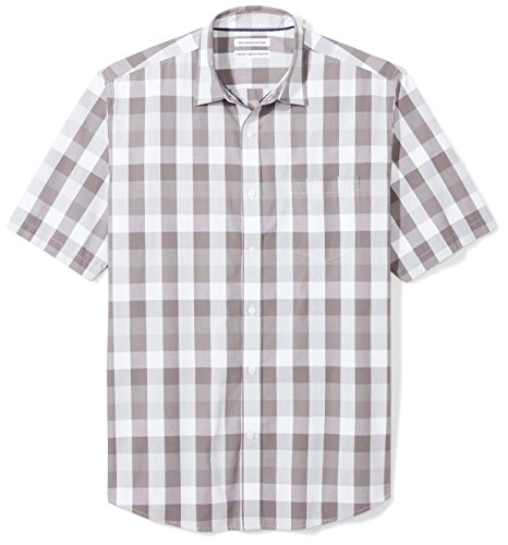 Amazon Essentials Men's Regular-Fit Short-Sleeve Casual Poplin Shirt, Grey Check, XX-Large (Front Mens Button Shirt)