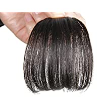 Remeehi Gorgeous Real Human Hair Flat Bangs/Fringe Hand Tied Bangs Mini Fashion Clip-in Hair Extension Natural Black