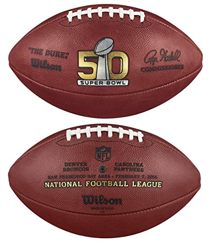 (NFL Super Bowl 50 Authentic Official Game Football (Boxed) with Broncos & Panthers Names Inscribed on Ball)