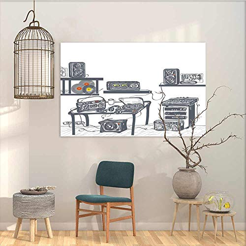 Modern Decorative Painting Sticker Modern Recording Studio with Music Devices Turntable Records Speakers Digital Illustration On Canvas Abstract Artwork Cadet Blue W27 xL19 ()