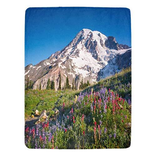 InterestPrint Mt Rainier National Park Wildflowers Summer Time Cascade Mountain Wilderness Fleece Blanket Super Soft Warm Lightweight Bed Blanket 60 x 80 Inches