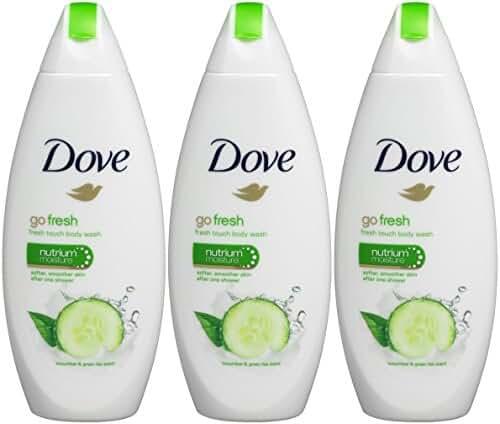 Dove Go Fresh Cool Moisture Fresh Touch Body Wash Cucumber and Green Tea 16.9 Oz / 500 Ml (Pack of 3)
