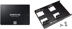 "Samsung 860 EVO 1 TB 2.5 Inch SATA III Internal SSD (MZ-76E 1TB/AM) & Corsair Dual SSD Mounting Bracket 3.5"" CSSD-BRKT2"