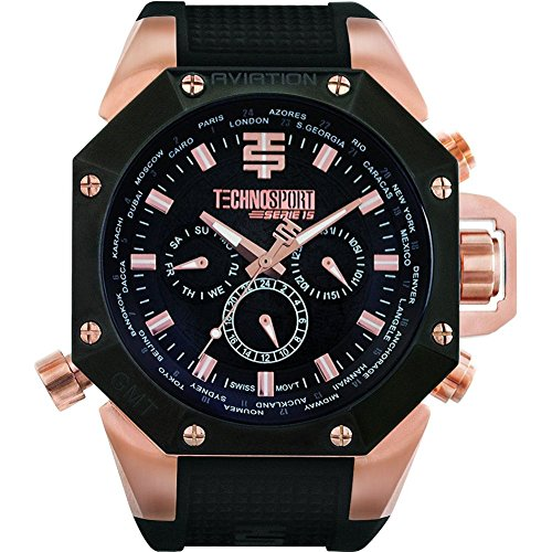 Technosport TS-100-1AV Men's World Timer GMT Swiss Multifunction Black And Rose Gold Watch