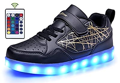 WaltZon Upgraded USB Charging LED Light Up Shoes Flashing Sneaker for Kids Boys Girls(Toddler,Litter kid,Big kid)