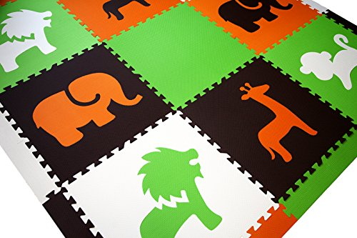 SoftTiles Interlocking Children's Foam Play Mats- Safari Animals Orange, Lime, Brown, and White- Premium Foam Mats for Kids Playrooms and Baby Nursery- (6.5' x 6.5') OLBW by SoftTiles (Image #2)