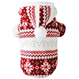Mummumi Dog Clothes for Small Dogs, Pet Warm Winter Hoodies Cat Dog T Shirts Soft Plus Winter Clothing Pet Apparel For Small Cat Dog Chihuahua Yorkshire Dachshund Bichon Frise (10, Red)