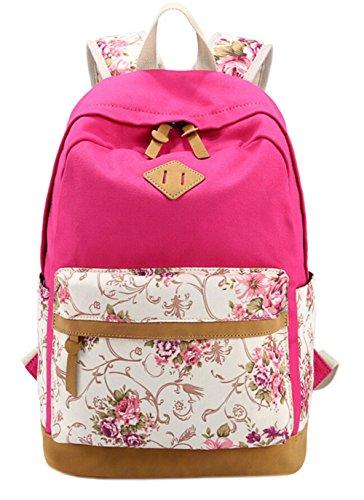 DATO Bolso Mochilas Escolares Estampado de Flores Mochila de Lona para Mujer Moda Juvenil Grand Capacidad Viaje Mochilas Tipo Casual Backpacks Rose Red