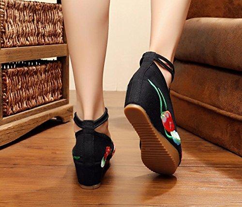 DESY Fein gestickte Schuhe, Leinen, Sehnensohle, ethnischer Stil, weibliche Schuhe, Mode, bequem, Segeltuchschuhe , black , 37