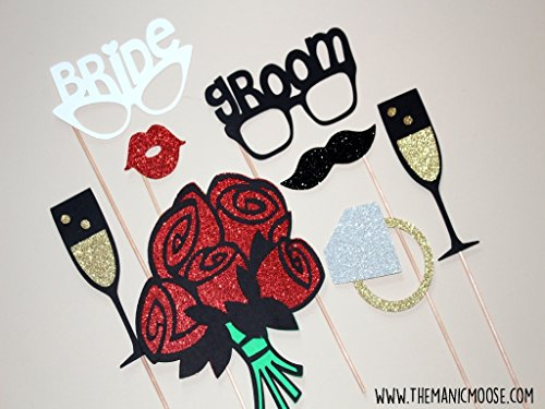 Bride and Groom Photo Booth Prop Set ~ 8 Piece Set ~ Props Come Fully Assembled to Wooden Dowels ()