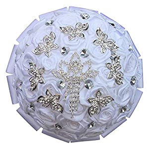Silver Butterfly Crown Rhinestone Ribbon Bride Bouquet Flower Wedding Bouquet 28