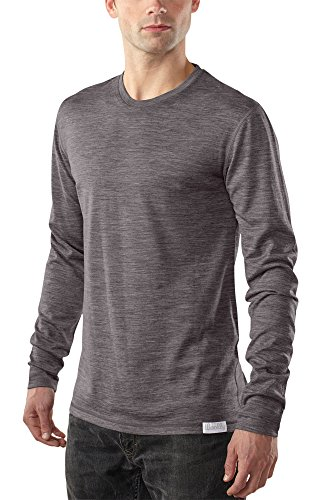 Woolly Clothing Men's Merino Wool Long Sleeve Crew Neck Shirt - Ultralight - Wicking Breathable Anti-Odor - L Gry