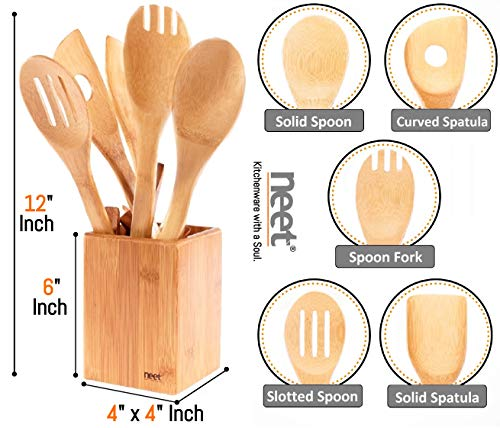 Organic Bamboo Cooking Utensils Set, Unique Elevation Feature, 6 Piece Set, Wooden Spoons Spatula, Kitchen Utensil Set, High Heat Resistant, Wood Serving Spoon, Eco-Friendly & Biodegradable Gift Idea by Neet (Image #2)