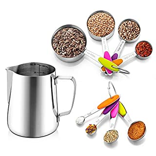 TeamFar Measuring Cups and Spoons, 9 Pieces Stainless Steel Metal Measuring Spoons and Cups for Liquid & Dry Ingredients, Perfect for Baking/Mixing, Healthy, Nesting & Dishwasher Safe