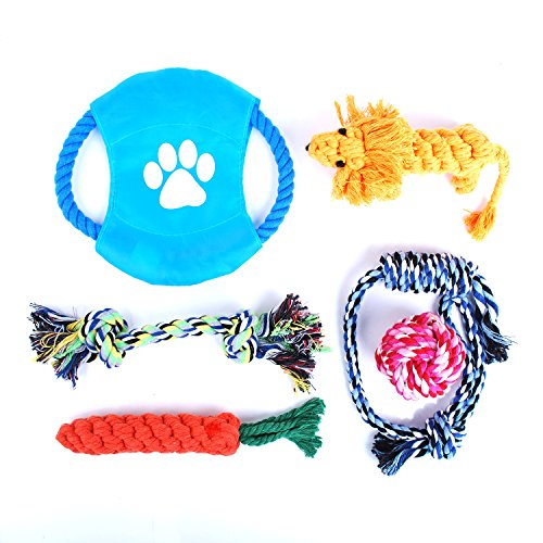 Dog Rope Toys Puppy Toys Set for Small to Medium Dogs, Squeaky Pet Teething Toys for Aggressive Chewers- Durable and Safe