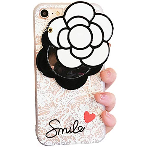 (iPhone X Soft Case with Elegance Camellia Flower Rotating Mirror IPLUS Clear Lace Protective TPU Flexible Case Cover for Apple iPhone X(iPhone X, White Camellia))