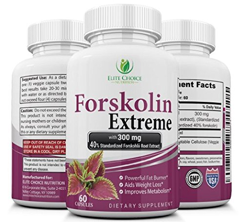 STRONGEST 40% Forskolin Extreme Weight Loss Pills – Standardized Pure Extract – 300mg per Capsule – Best Fat Burner Appetite Suppressant Supplement & Metabolism Booster – 100% Natural & Safe