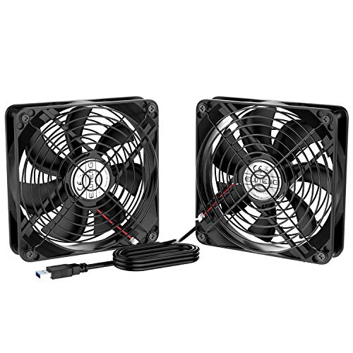 ELUTENG Dual 120mm Fan 2 in 1 USB Fan Computer Cooling Ventilator 5V Compatible for Laptop/Playstaion/Xbox One/Mini PC/Router/DVR Radiator Fan - One Mini Usb