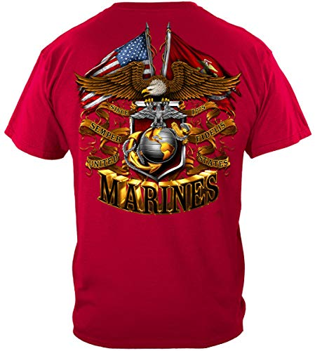 (Marine Corps T Shirt Military Flags | USMC Double Eagle and Flags Foil Sta Shirt ADD88-MM2161-4XL)
