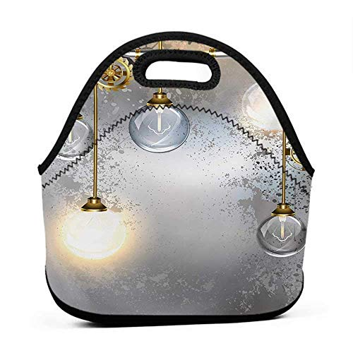 Travel Case Lunchbox with Zip Industrial,Steampunk Style Antique Composition Brass Fastening Round Figures Print,Gold Grey White,rolling bag packs for girls with lunch bag