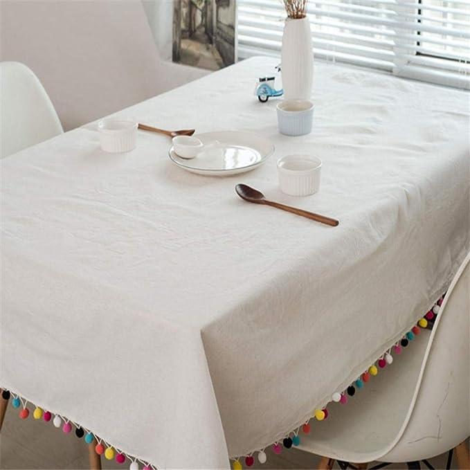 Yingqi Mantel de borla a cuadros blancos Mantel de algodón de lino ...
