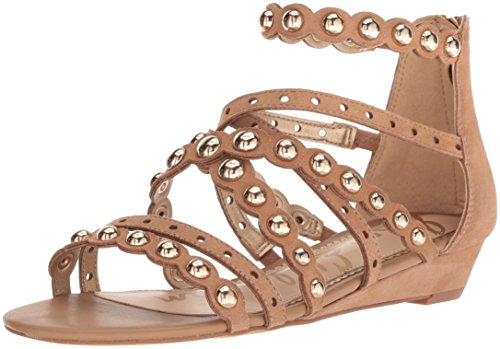 Sam Edelman Women's Dustee Wedge Sandal, Golden Caramel Suede, 9 M US