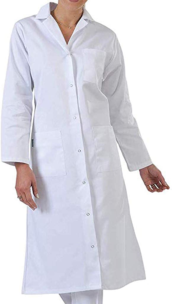 beetleNew Womens Cothing Womens White Lab Coats Laboratory Doctor Workwear Coat Button Down Long Shirts Tops Uniform Students White Coat with Pockets