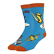 Men's Fun Cool Jazz Music Pattern Crazy Crew Cotton Dress Socks