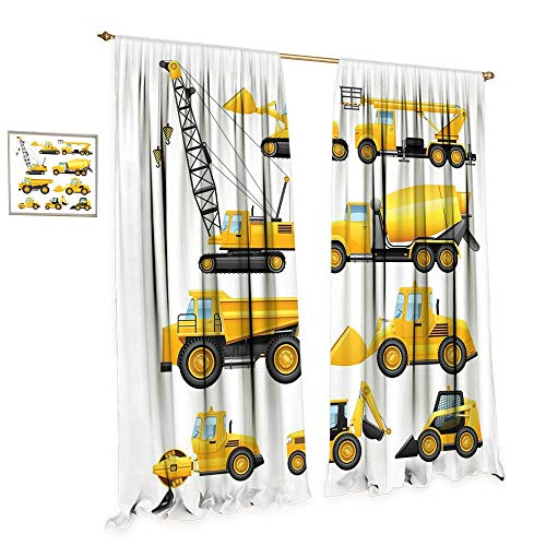 Bulldozer Knob (cobeDecor Boys Thermal Insulating Blackout Curtain Abstract Images of Construction Vehicles and Machinery Trucks Bulldozer Crane Patterned Drape for Glass Door W108 x L84 Earth Yellow Black)