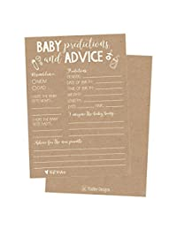 50 Rustic Advice and Prediction Cards for Baby Shower Game, New Mom & Dad Card or Mommy & Daddy To Be, For Girl or Boy Babies, New Parent Message Advice Book, Fun Gender Neutral Shower Party Favors BOBEBE Online Baby Store From New York to Miami and Los Angeles