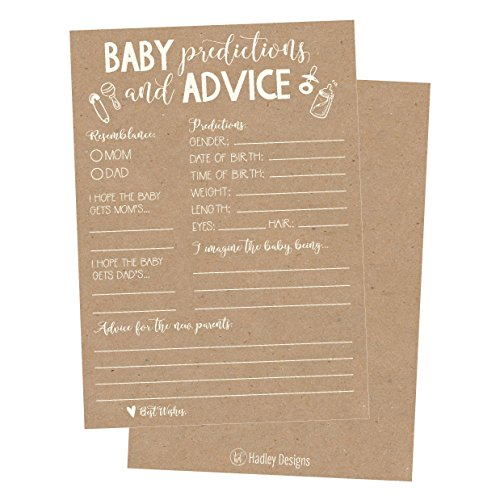 50 Rustic Advice and Prediction Cards for Baby Shower Game, New Mom & Dad Card or Mommy & Daddy To Be, For Girl or Boy Babies, New Parent Message Advice Book, Fun Gender Neutral Shower Party Favors ()