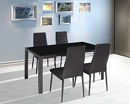 EBS® Black Glass Dining Table and 4 Chairs Dining Room Furniture Set - Modern Design Faux Leather