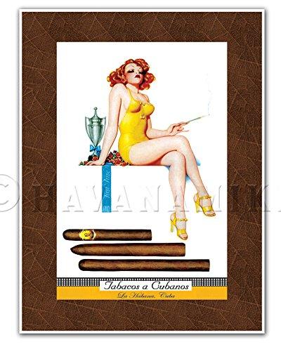Gallery Prints Cuban Cigar Blue Ribbon Art Poster Pinup Girl Print Havana Cuba Tobacco - Measures 24