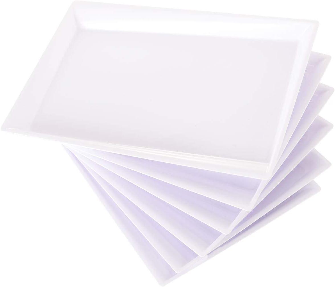 Supernal 12pcs White Plastic Serving Trays,12 Rectangle Platter,Plastic Fast Food tray,15''X10'' Decorative Serving Trays,Wedding Platter Party Trays,Disposable Serving Party Platters