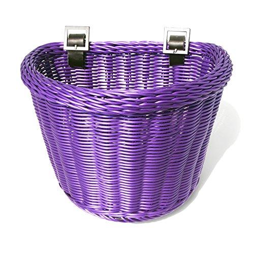 Colorbasket 02195 Front Handle Bar Junior Bike Basket, All Weather, Water Resistant, Adjustable Leather Straps, Food-Contact Safe, Purple