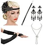 Beelittle 1920s Accessories Headband Earrings Necklace Gloves Cigarette Holder (C3)