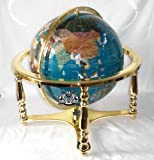 21'' Turquoise Gemstone Globe with 4-Leg Gold Stand