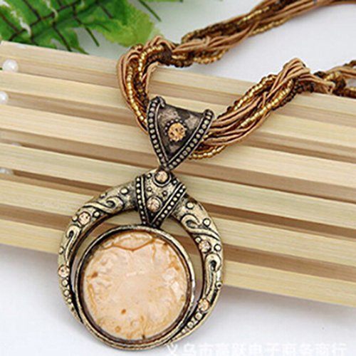 Rurah New Bohemian Ethnic Customs Delicate Swater Chain Necklaces New for Women Jewelry Wedding,Beige