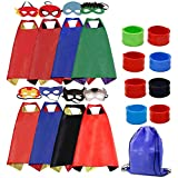 LansKids Dress up Superhero Capes Costume and Mask with Wristbands for Kids