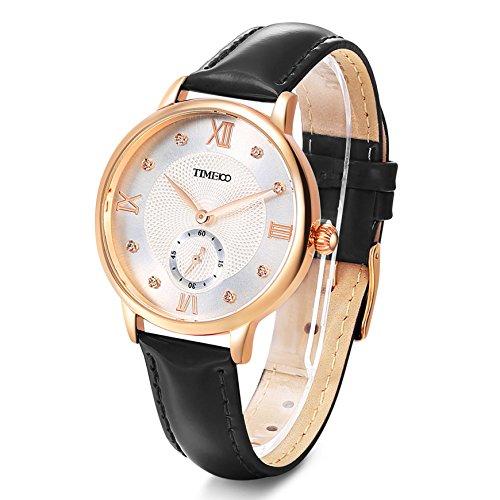 Time100 W80099G.01A Reloj cuarzo para mujer de número romano con diamante de color negro con segundero: Amazon.es: Relojes
